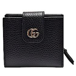 GUCCI 經典金屬GG Logo荔枝紋小牛皮暗釦/拉鍊短夾(黑)