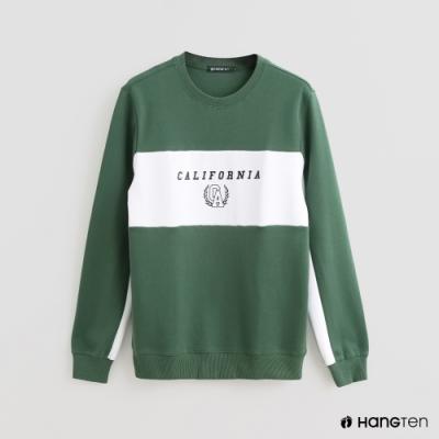 Hang Ten - 男裝 - 撞色印花LOGO休閒上衣 - 綠