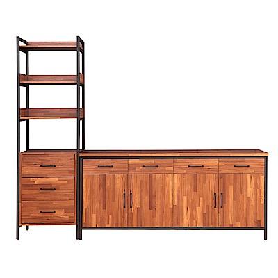 D&T德泰傢俱格萊斯積層木工業風三抽展示架+6尺餐櫃-241.3x45.3x196cm