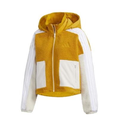 adidas 外套 Urban BOA Jacket 女款 愛迪達 連帽外套 絨毛 保暖 穿搭 黃 白 GM1425