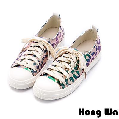 Hong Wa 潮流迷彩豹紋牛皮綁帶休閒鞋 - 豹紋