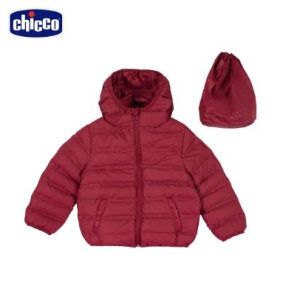 chicco- TO BE Baby-環保寬條壓棉素色棉帽外套-紅