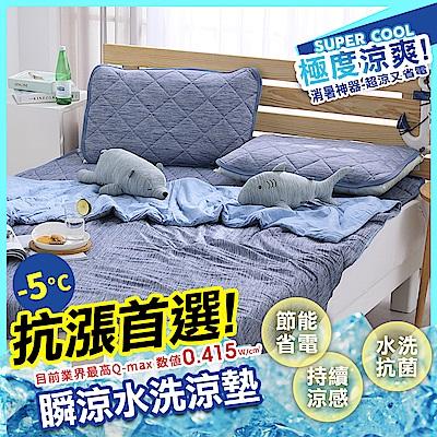 鴻宇 涼感-5度C 瞬涼可洗抗菌雙人保潔墊 SUPERCOOL接觸涼感