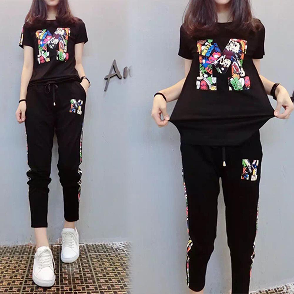 【韓國K.W.】愜輕甜女孩字母卡通套裝