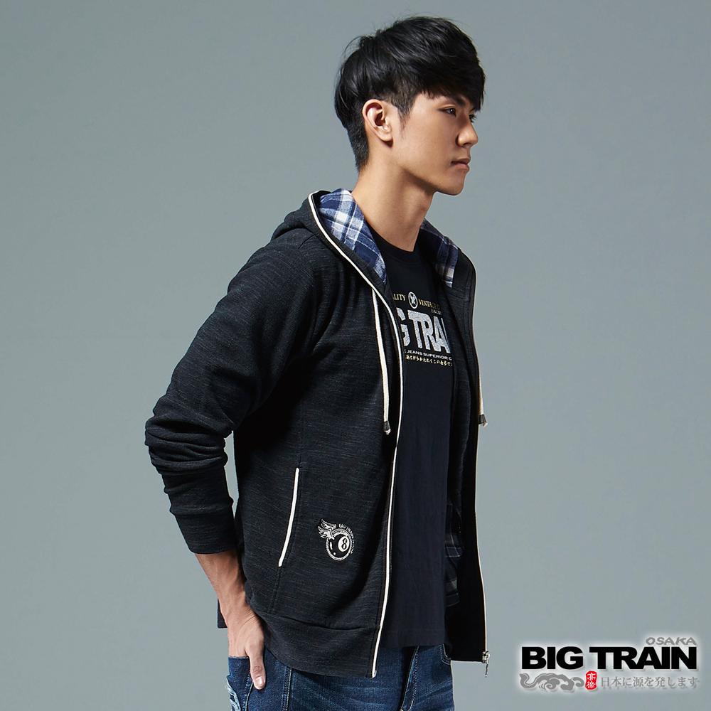 BIG TRAIN 竹節羅紋出芽連帽外套-男-黑色