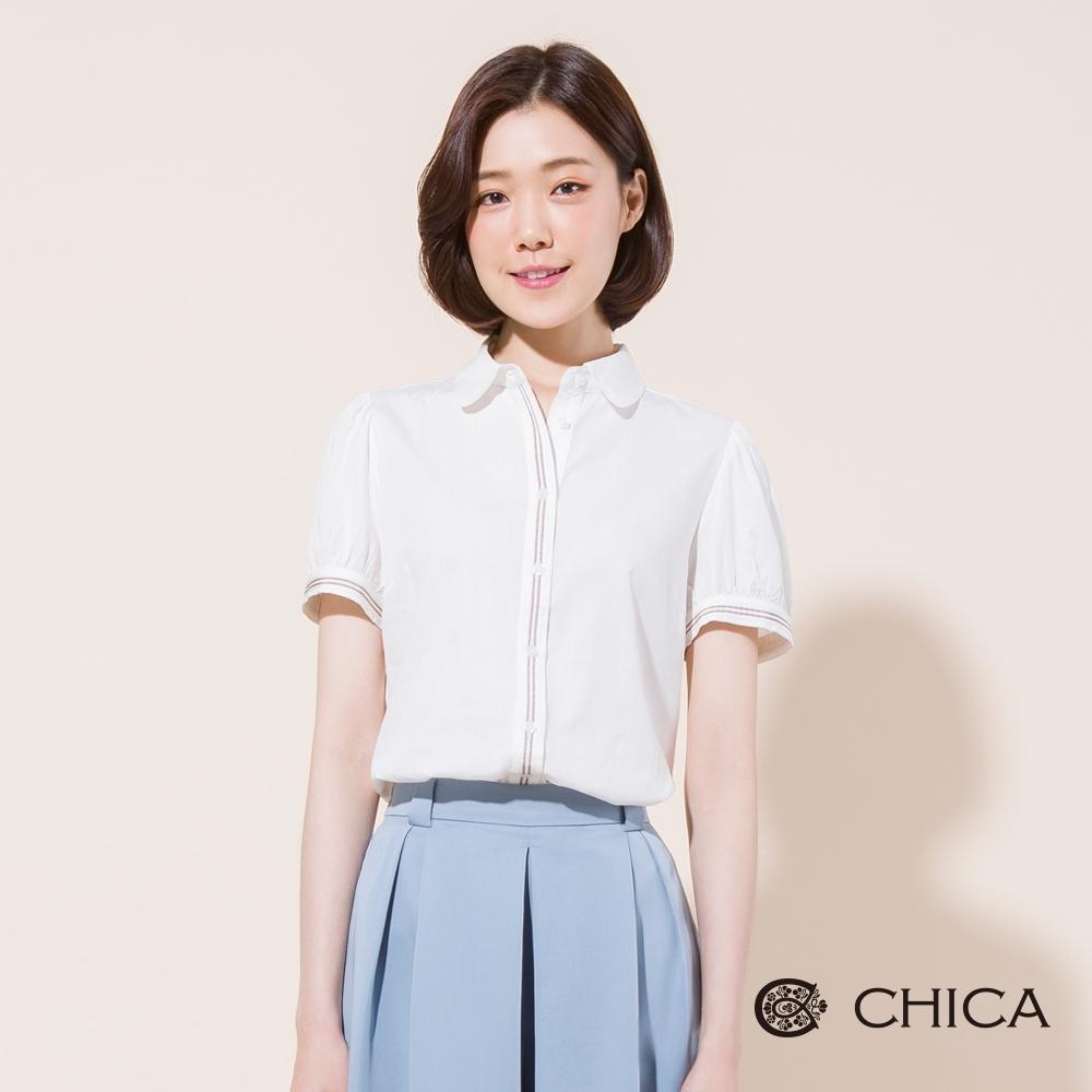 CHICA 甜美清新條紋帶飾公主袖襯衫(2色)