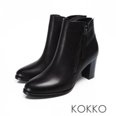 KOKKO - 自由意志真皮圓頭高跟短靴 - 低調黑