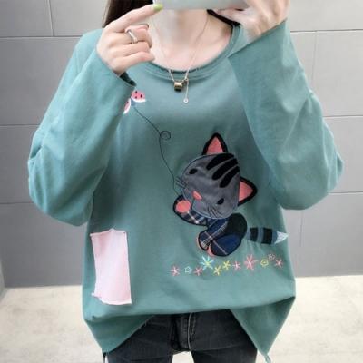 NUMI  森-貓咪貼布刺繡寬鬆上衣-共3色-(F可選)