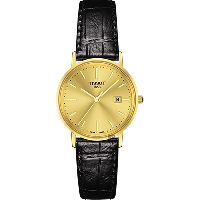 TISSOT天梭 18K金 Goldrun 石英錶-金x黑/29mm