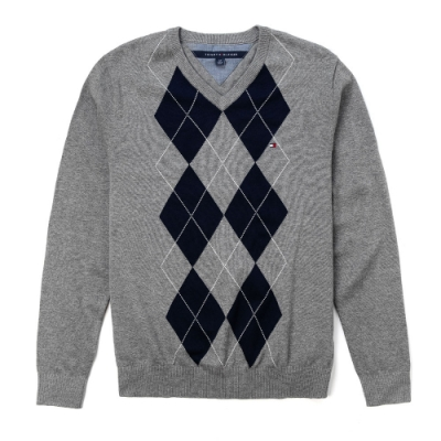 TOMMY 年度經典V領刺繡小LOGO毛衣-灰深藍格紋色