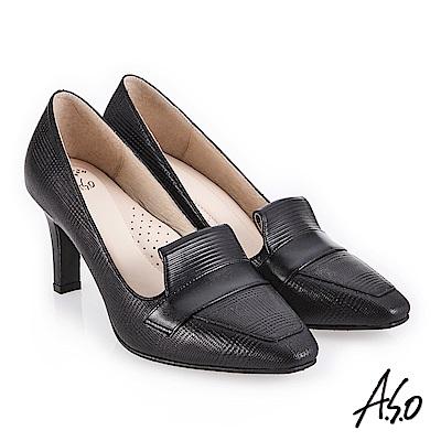 A.S.O 義式簡約 俐落時尚微方楦高跟鞋 黑