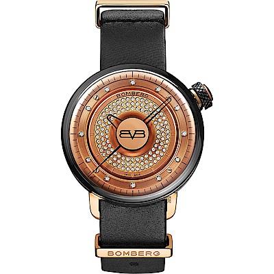 BOMBERG 炸彈錶 BB-01 系列石英晶鑽女錶-玫塊金x黑/38mm