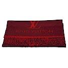 LV M75505 Reykjavik系列 Monogram織花羊絨雙面針織圍巾(櫻桃紅)