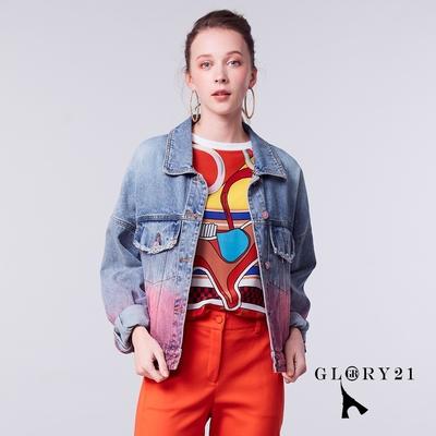 【GLORY21】新品-染色炫彩單寧牛仔外套-藍色
