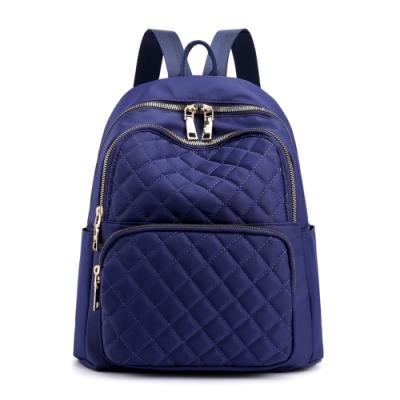 DF Queenin流行 - 日系菱格小香風都會休閒學院風後背包-共3色