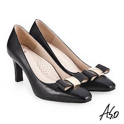 A.S.O 義式簡約 優雅蝴蝶結釦高跟鞋 黑