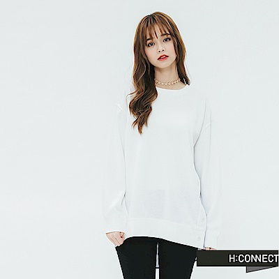 H:CONNECT 韓國品牌 女裝-條紋拼接排扣上衣-白