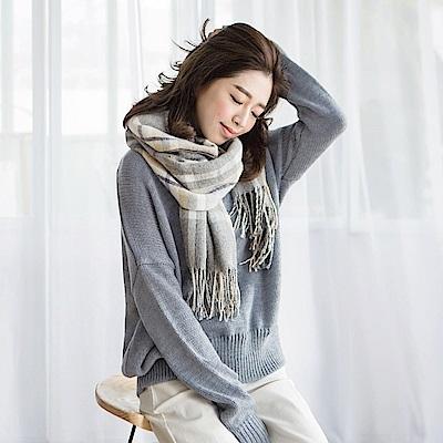質感純色落肩寬鬆針織上衣-OB大尺碼