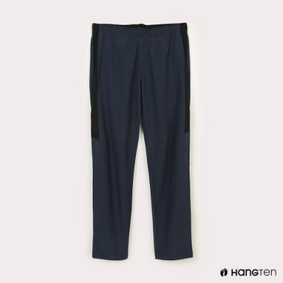 Hang Ten-男裝-恆溫多功能-REGULAR FIT標準四向彈力吸濕快乾抗曬撞色運動長褲-藍色