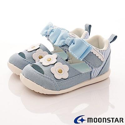日本Carrot機能童鞋 花漾透氣高支撐涼鞋 NI19淺藍(寶寶段)