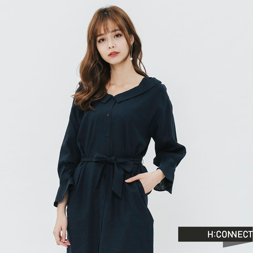 H:CONNECT 韓國品牌 女裝-甜美綁結排扣洋裝-藍
