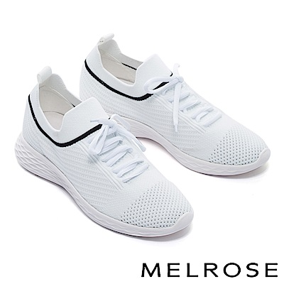 休閒鞋 MELROSE 運動風綁帶造型飛織厚底休閒鞋-白