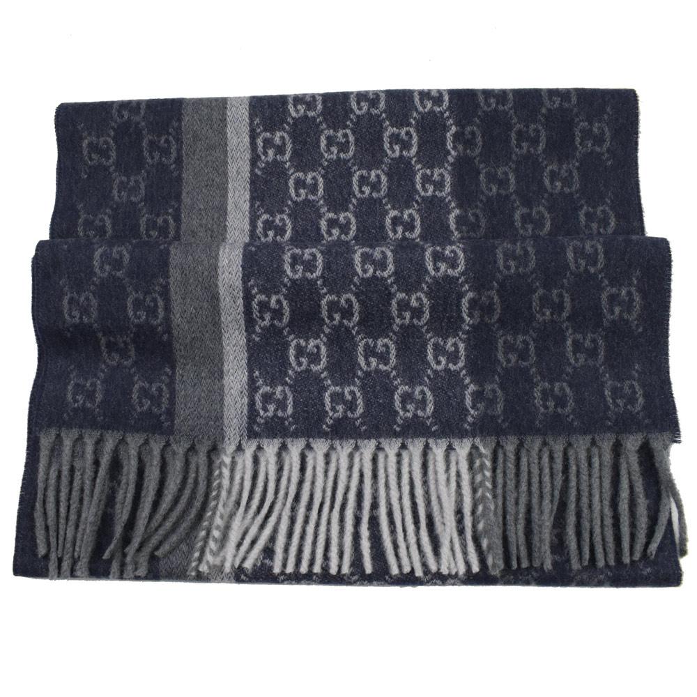 GUCCI 經典LOGO喀什米爾羊毛長型圍巾(藍灰)GUCCI