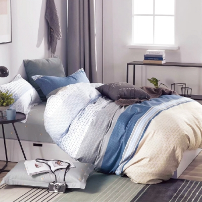 3-HO 100%純棉-單人床包/枕套組-芬菲 台灣製