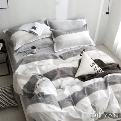 DUYAN竹漾-100%精梳純棉-單人三件式舖棉兩用被床包組-賽西爾 台灣製