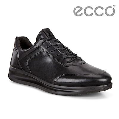 ECCO AQUET MENS透氣簡約單色休閒鞋 男-黑