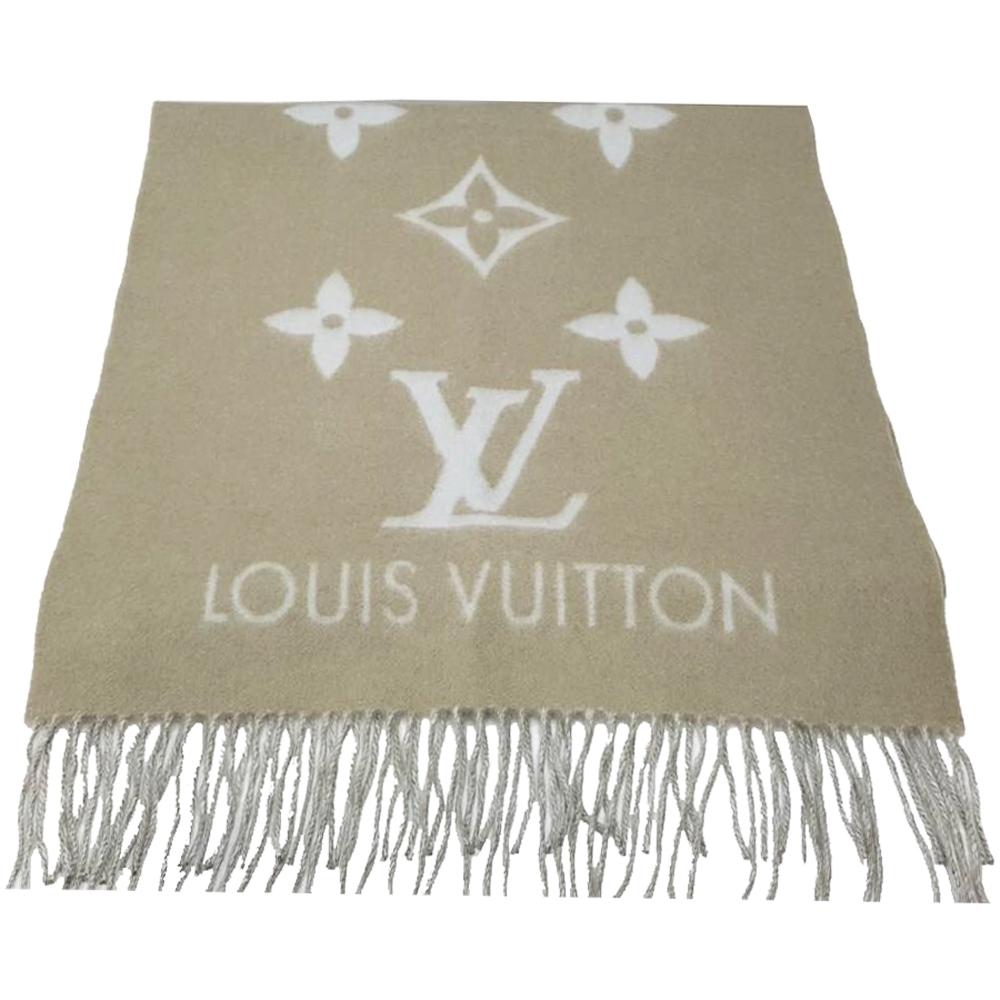 LV M70462 REYKJAVI系列Monogram花紋喀什米爾羊毛圍巾(灰樹色)