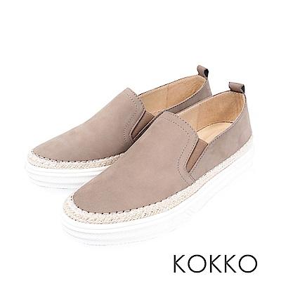 KOKKO -極簡麻編滾邊厚底真皮懶人鞋-毛線灰