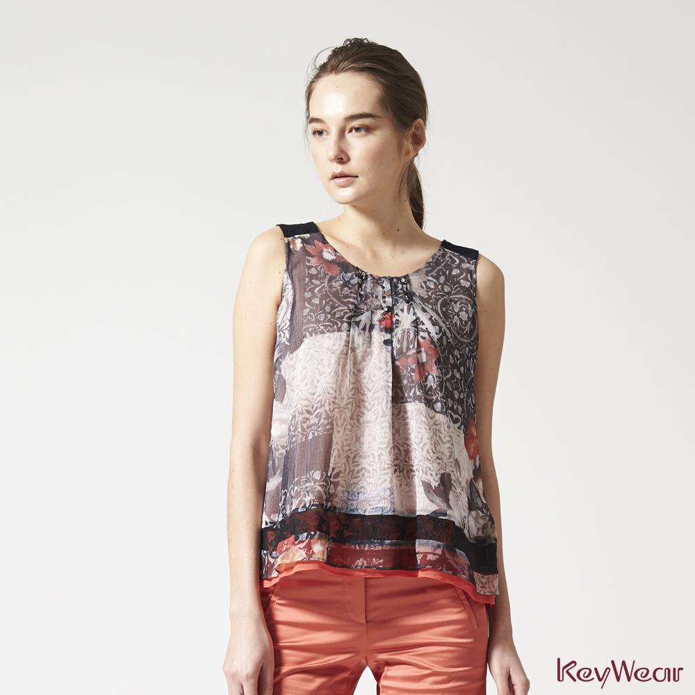 KeyWear奇威名品    歐美圖騰拼接繡花蕾絲背心-綜合色