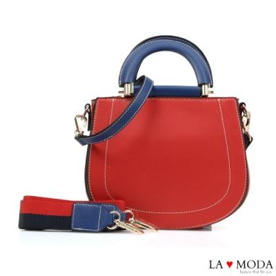 La Moda 精品質感多背法撞色設計感肩背手提包(紅)