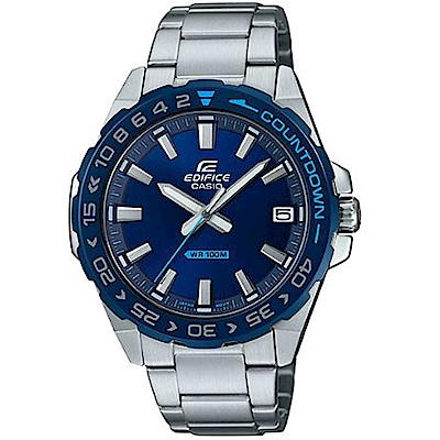EDIFICE科技新寵潛水風旋轉錶圈不鏽鋼休閒錶(EFV-120DB-2)藍/47.2mm