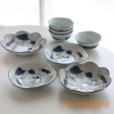 Just Home日式暖暖貓陶瓷餐具8件組/飯碗/餐盤/湯盤/可微波