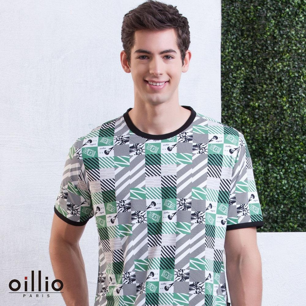 oillio歐洲貴族 智能冰涼感超柔T恤 滿版圖樣圓領款 綠色