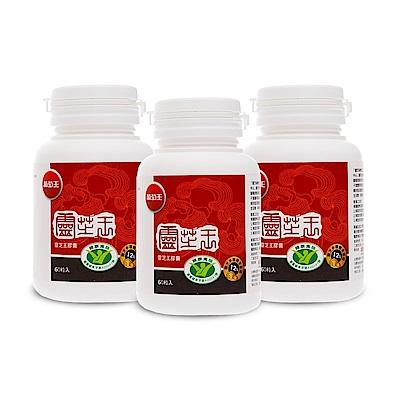 時時樂【葡萄王】認證靈芝60粒X3盒 (國家調節免疫力健康食品認證靈芝多醣12百分比)-快