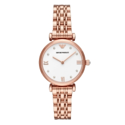 EMPORIO ARMANI 珍珠時刻時尚腕錶-玫瑰金X白(AR11267)/32mm