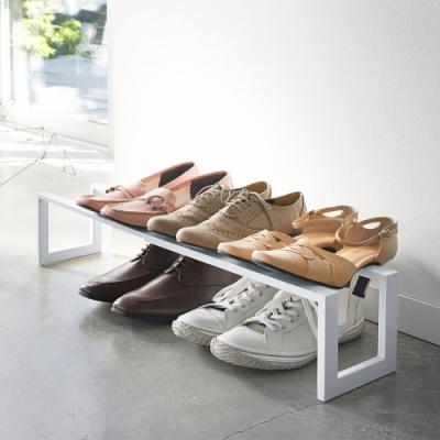日本 YAMAZAKI-LINE伸縮式鞋架(白)★日本百年品牌★居家收納/玄關/鞋架