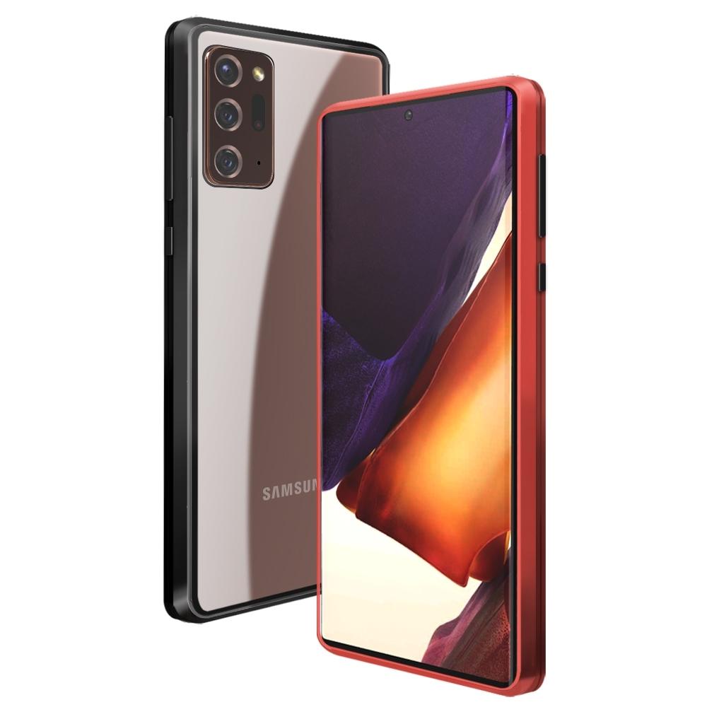 三星 Samsung Note 20 Ultra 金屬 透明 磁吸單面玻璃殼 手機殼 保護殼 保護套-紅色款-Note20 Ultra-紅色*1