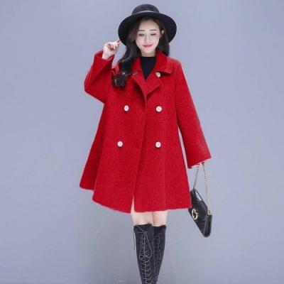 【韓國K.W.】毛呢聖誕約會寬鬆OL大衣風衣-1色