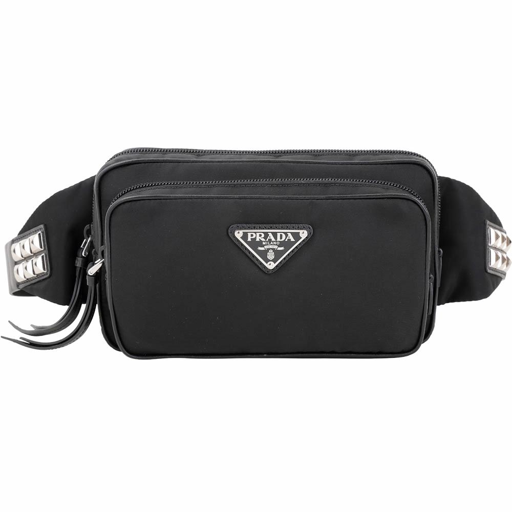 PRADA 鉚釘雙袋設計尼龍胸肩背/腰包(黑色)