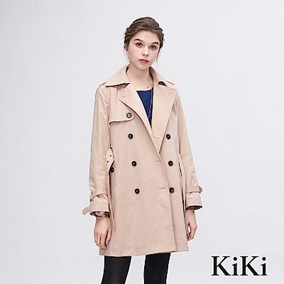 KiKi INLook 都會風個性女子風衣外套(卡其色)