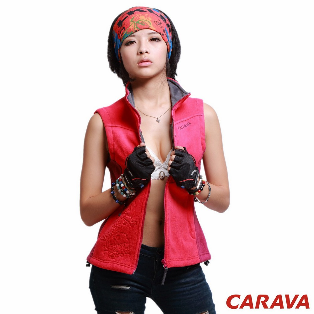 CARAVA《女款刷毛背心》(玫紅)