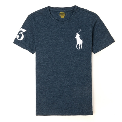 Polo Ralph Lauren 經典刺繡大馬素面短袖T恤-麻花深藍色