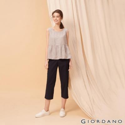 GIORDANO 女裝素色鬆緊腰九分休閒褲-66 標誌海軍藍