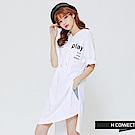 H:CONNECT 韓國品牌 女裝 -PLAY 連身帽T-白(快)