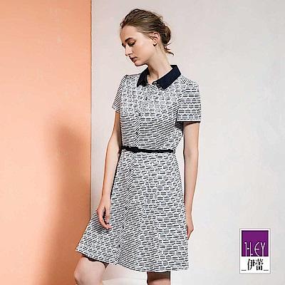 ILEY伊蕾 配色造型幾何襯衫洋裝(藍)