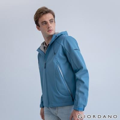 GIORDANO 男裝高機能刺繡連帽外套 - 62 愛琴海藍